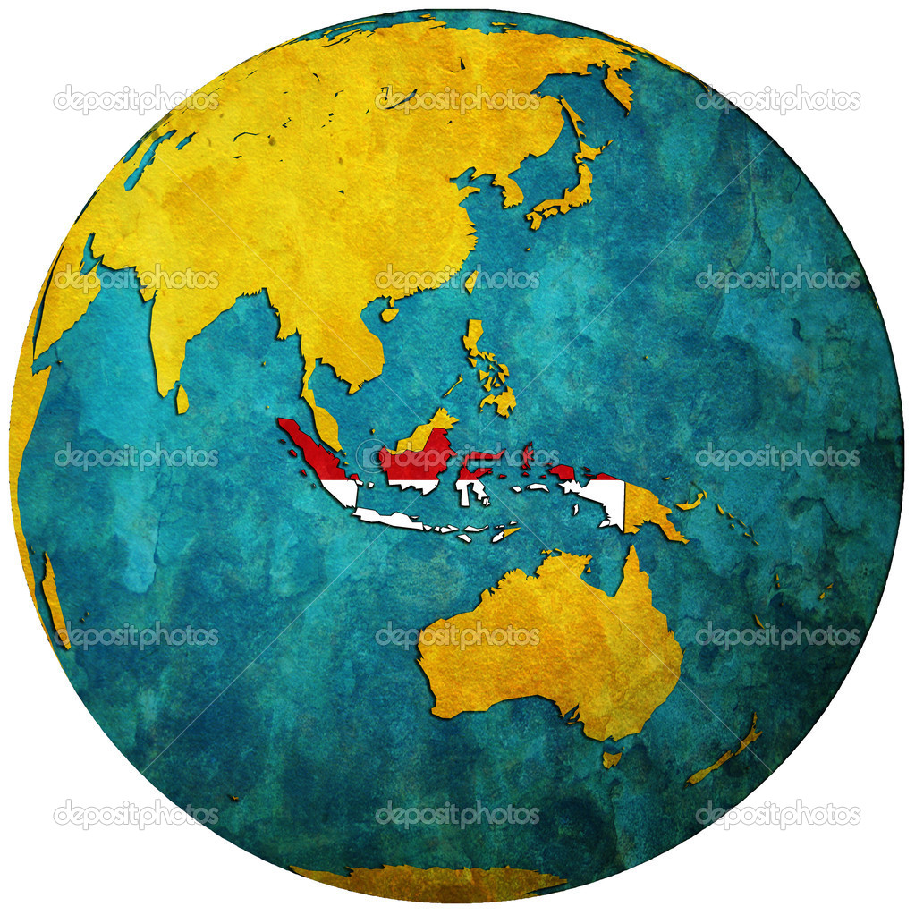 Indonesia flag on globe map stock photo michal812 4843977 indonesia flag on globe map stock photo gumiabroncs Gallery