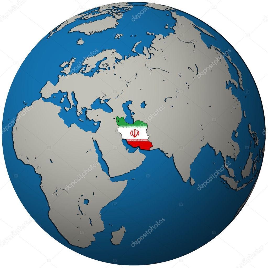 Iran Flag On Globe Map Stock Photo Michal - Map of globe