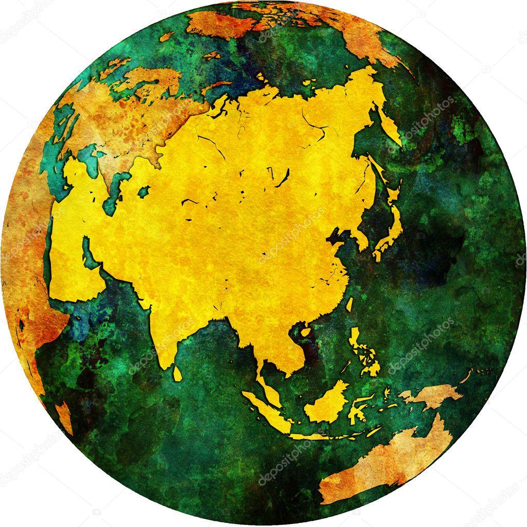 asia on globe map stock photo