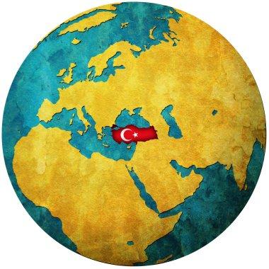 Turkey flag on globe map