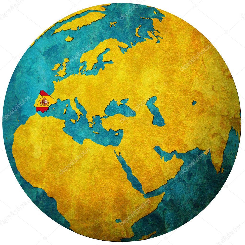 spain flag on globe map u2014 stock photo michal812 5326161