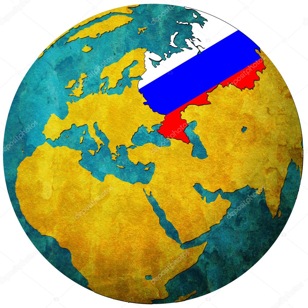 Russia flag on globe map stock photo michal812 5327167 russia flag on globe map stock photo gumiabroncs Images