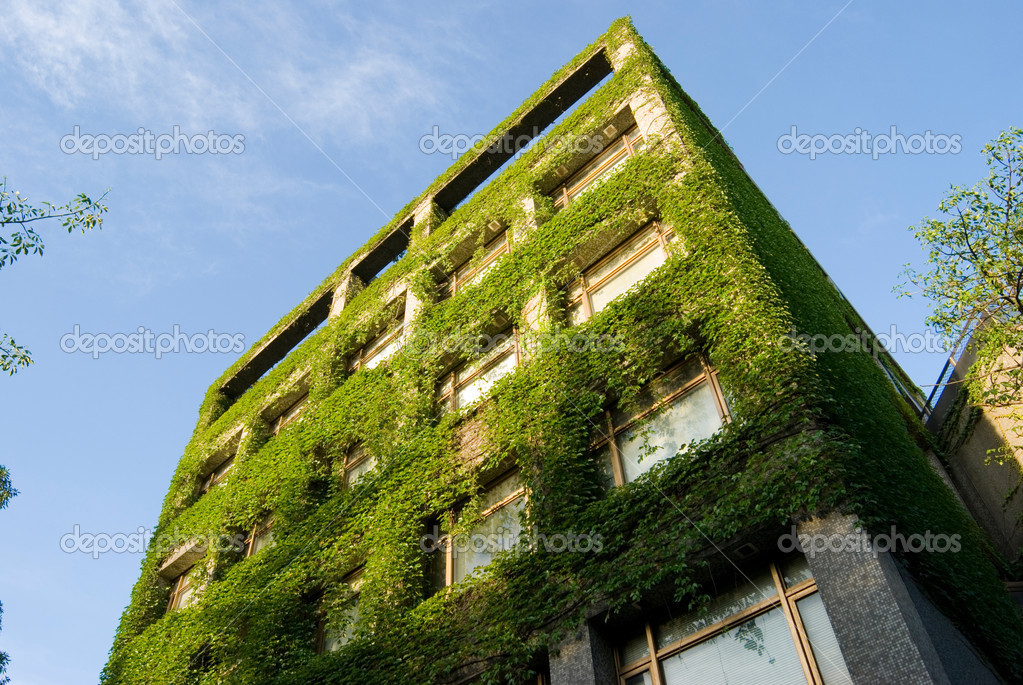 Building covers by real green plants