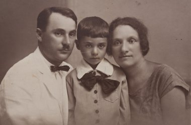 Family portrait of a young couple with a child