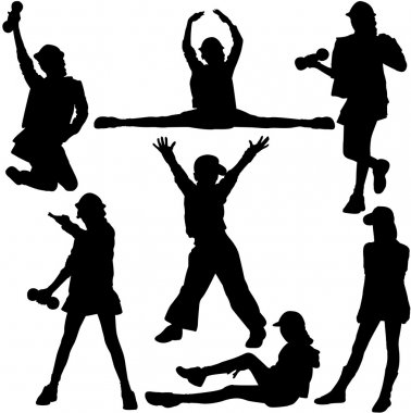 Silhouettes of girls of teenagers