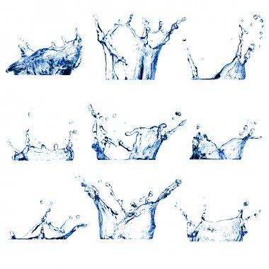 Set of nine water splashes