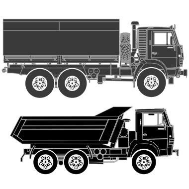 Detailed Vector trucks silhouettes set