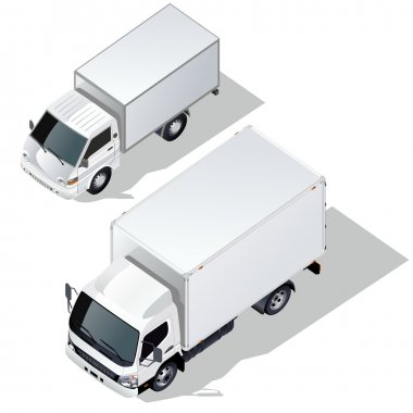 Vector delivery trucks isometric set.