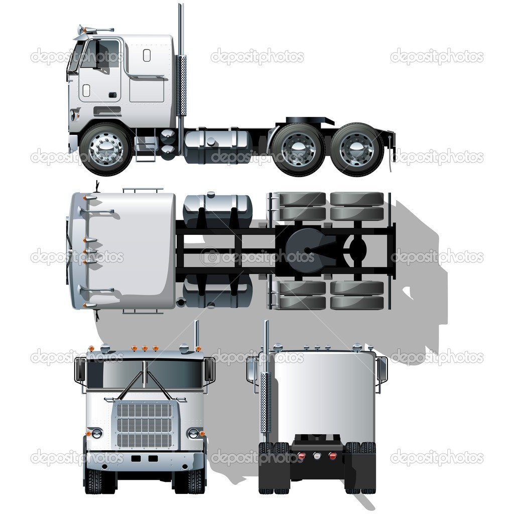 Vector hi-detailed semi-truck