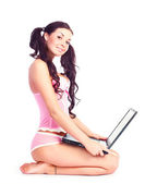 sexy Mädchen mit einem Laptop