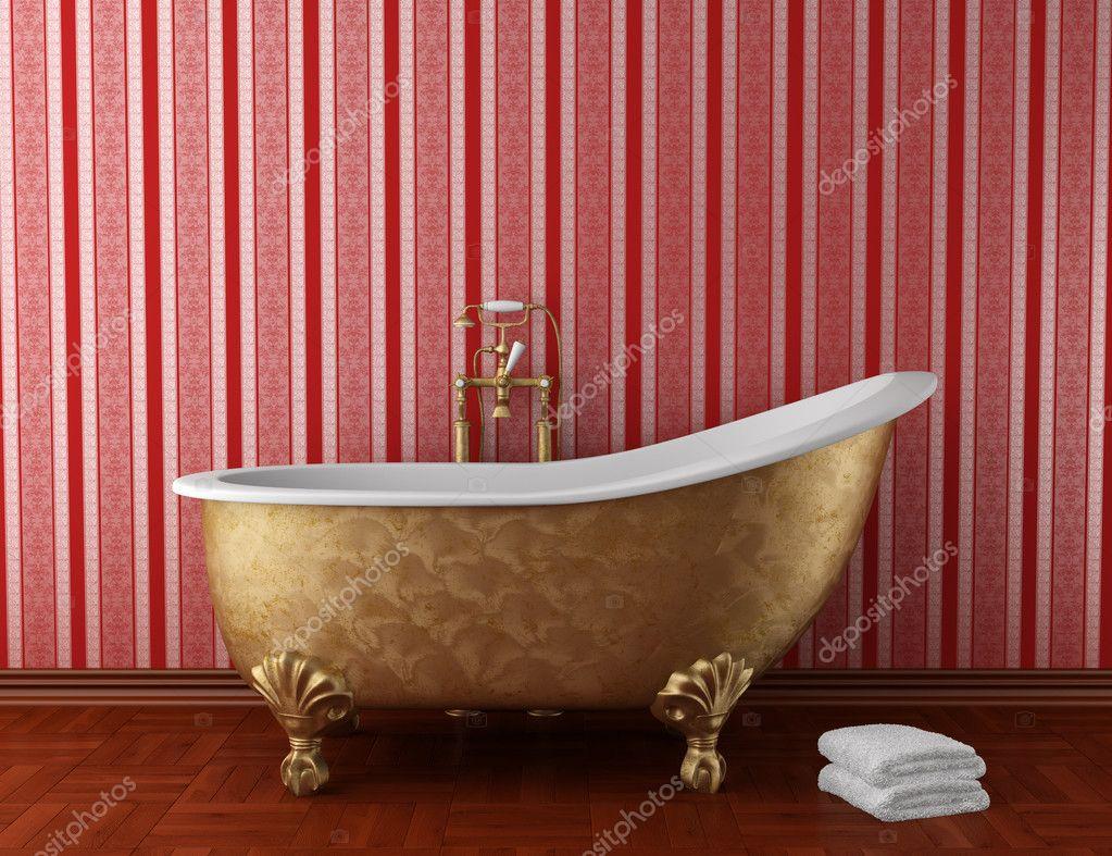 Vasca Da Bagno Rossa : Classico bagno con vasca vecchia e parete messa a nudo rosso