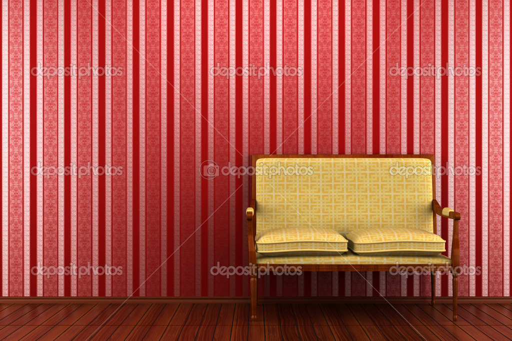 Yellow classic sofa in front of red striped wall — Stock ...