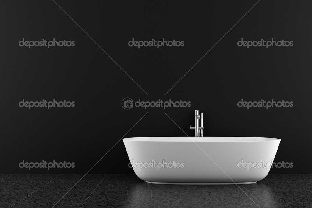 Modernes badezimmer mit schwarzer boden und wand — Stockfoto ...
