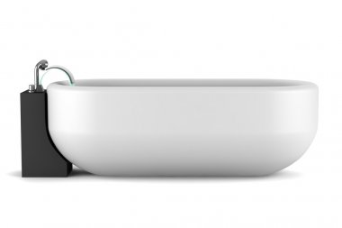 Modern bathtub isolated on white background with clipping path