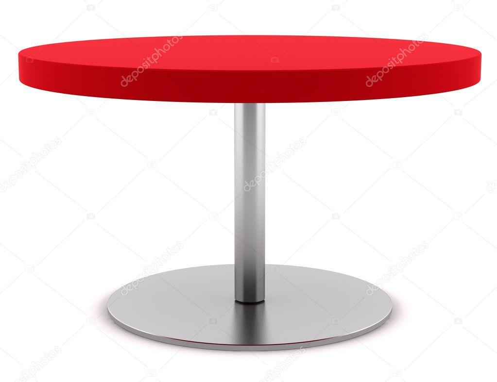 Moderne rode ronde tafel geïsoleerd op witte achtergrond