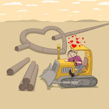 Tractor driver in love