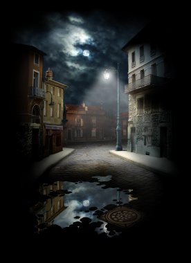 Night Street, photocollage (a lot of my shots as a source). stock vector