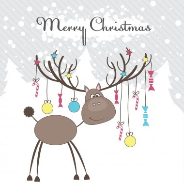 Christmas reindeer with gifts. Vector illustration