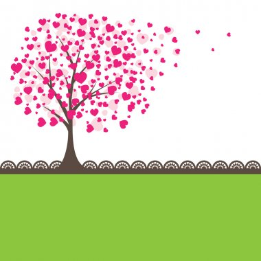 Tree with pink hearts for you. Vector illustration clip art vector