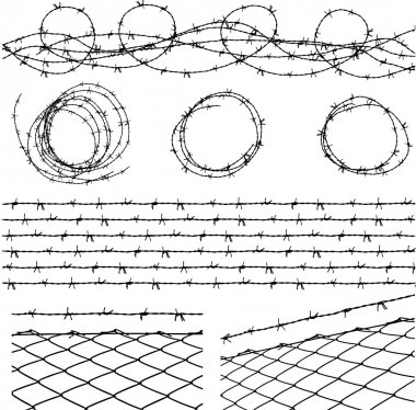 Some barbed wire elements with fence and a barbed wire seamless module in a separate layer stock vector