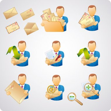 Set of e-mail users, good for webdesign, business concepts and computer icons clip art vector