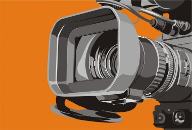 Art illustration of close-up tv camcorder stock vector