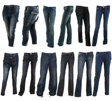 Collection of various types of blue jeans trousers