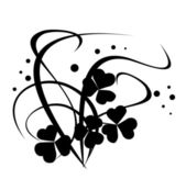 Černý vektor květinové ilustrace na bílém pozadí