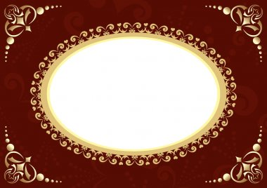 Vector brown card with oval and patter