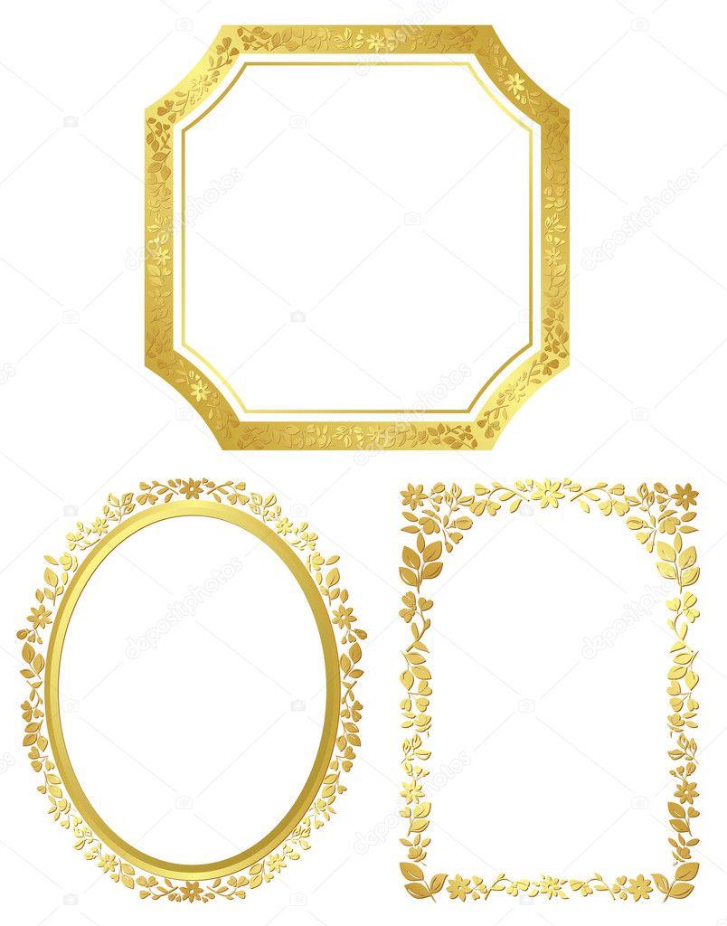 Conjunto de vectores varios marcos dorados vector de - Marcos de fotos dorados ...