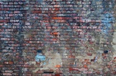 Surface old stuccoed brick wall