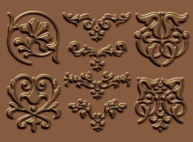 Ornament sets 3d embossed pattern stock vector