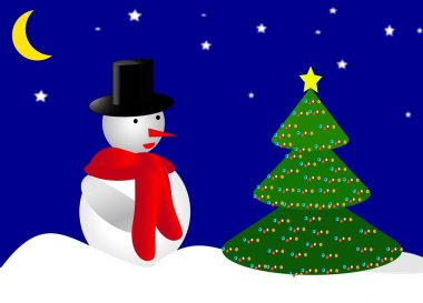 Snoman and Christmas tree stock vector