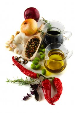 Olive oil and balsamic vinegar with mediterranean spices