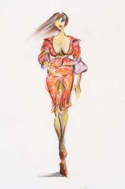 """Картина, постер, плакат, фотообои """"женщина-мода картина цветы все"""", артикул 4226086"""