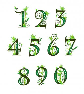 Digits with floral elements