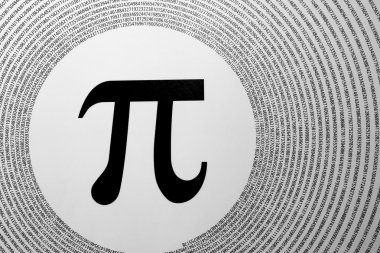 The mathematical constant Pi depicted as greek letter in the centre of circ