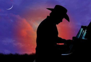 Cowboy Pianist Silhouette