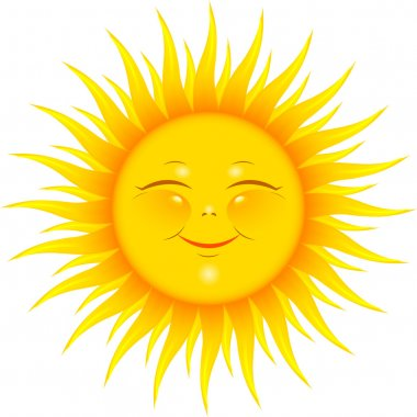 Vector Smiling Sun over white. EPS 8, AI, JPEG stock vector