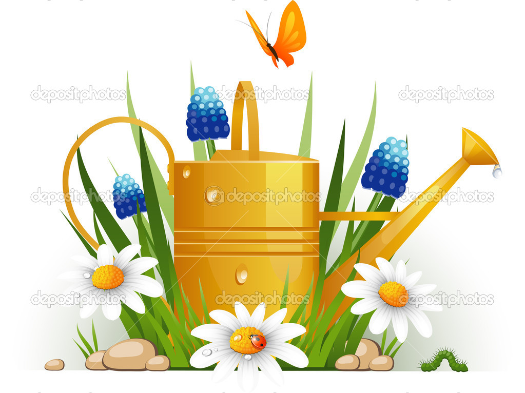 Garden watering can with flowers