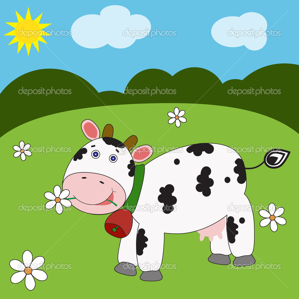 landscape with funny cow u2014 stock vector l amica 5012760