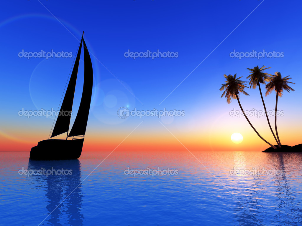 Sailing vessel travelling on ocean