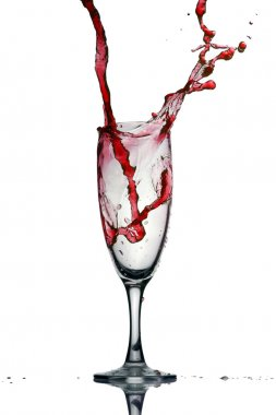 Pouring red wine. Wine splash isolated on white. stock vector