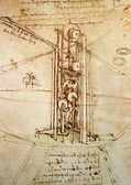 Photo Leonardos Da Vinci engineering drawing