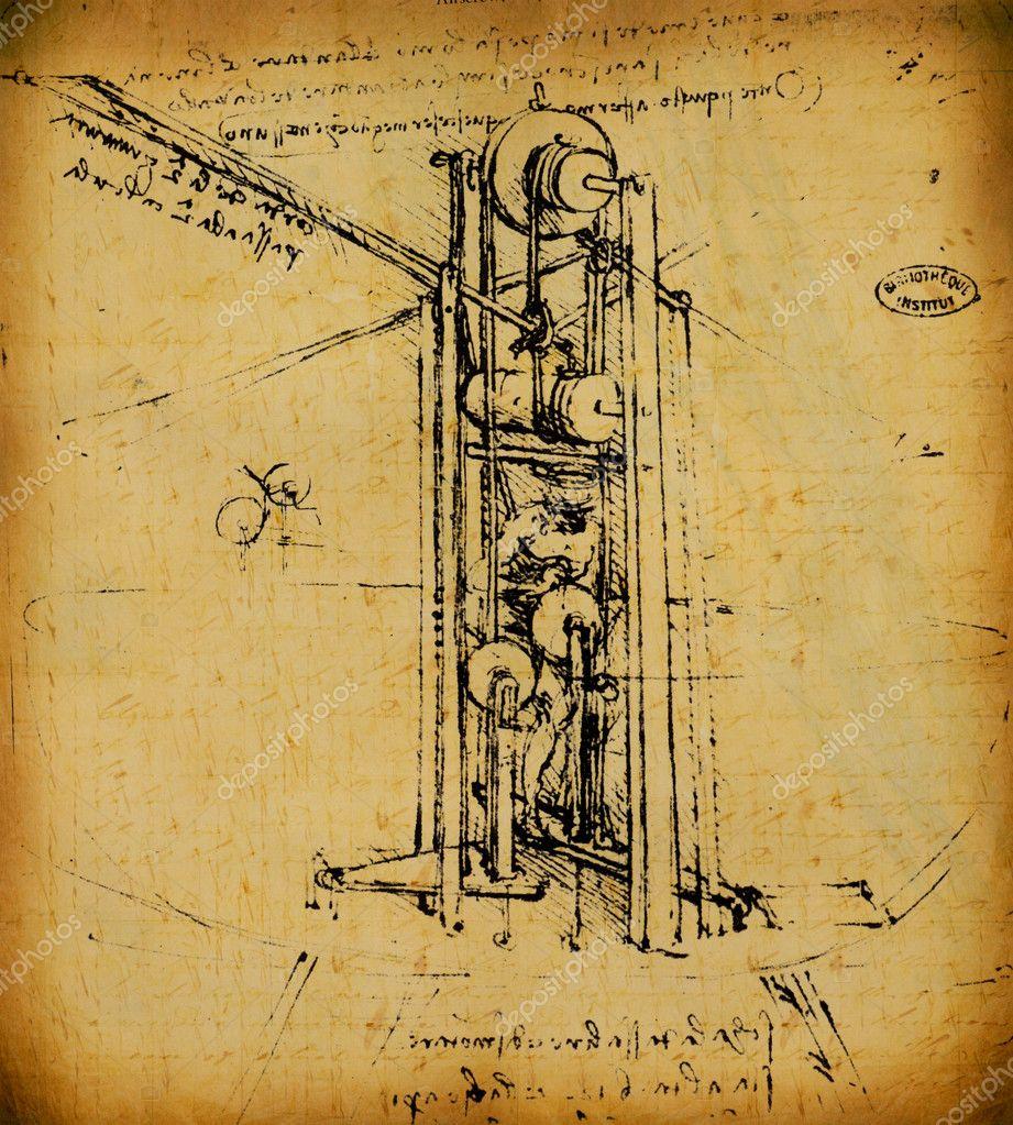Leonardo\'s Da Vinci engineering & Anatomy drawing — Stock Photo ...