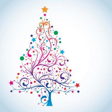 Christmas tree in rainbow colors, vector illustration clip art vector
