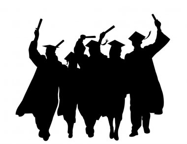 Silhouettes graduation vector