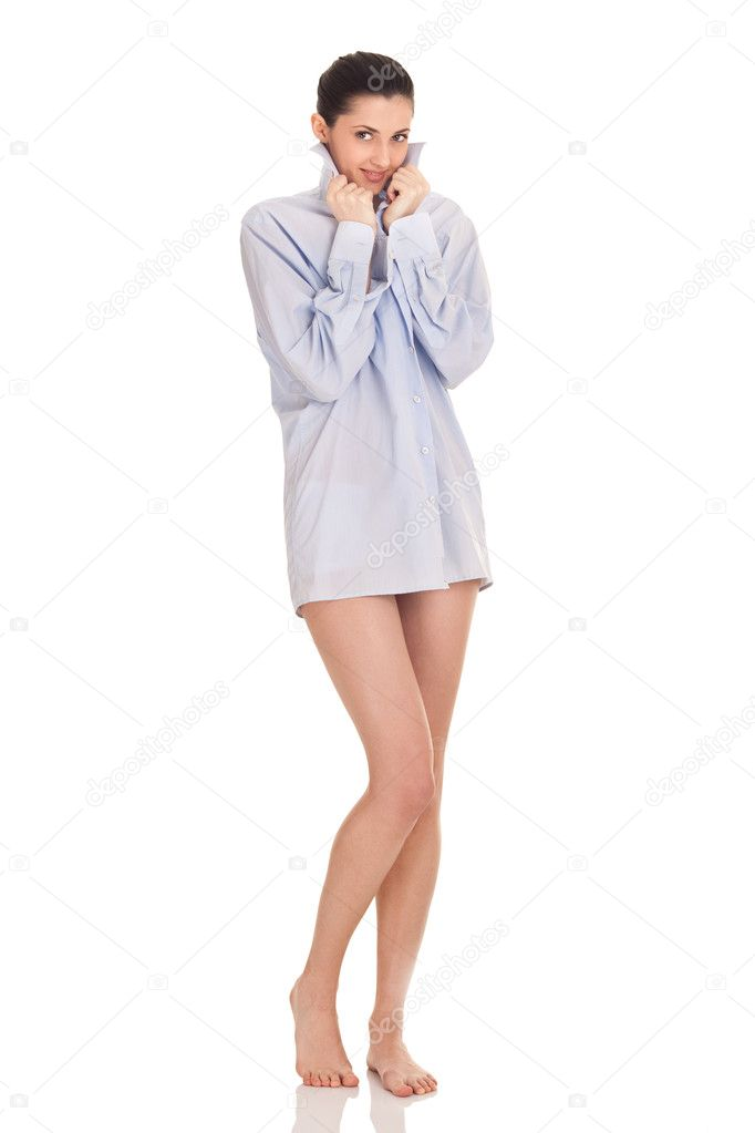 comprar online 48d53 611eb Por la mañana, mujer en camisa de hombre — Fotos de Stock ...