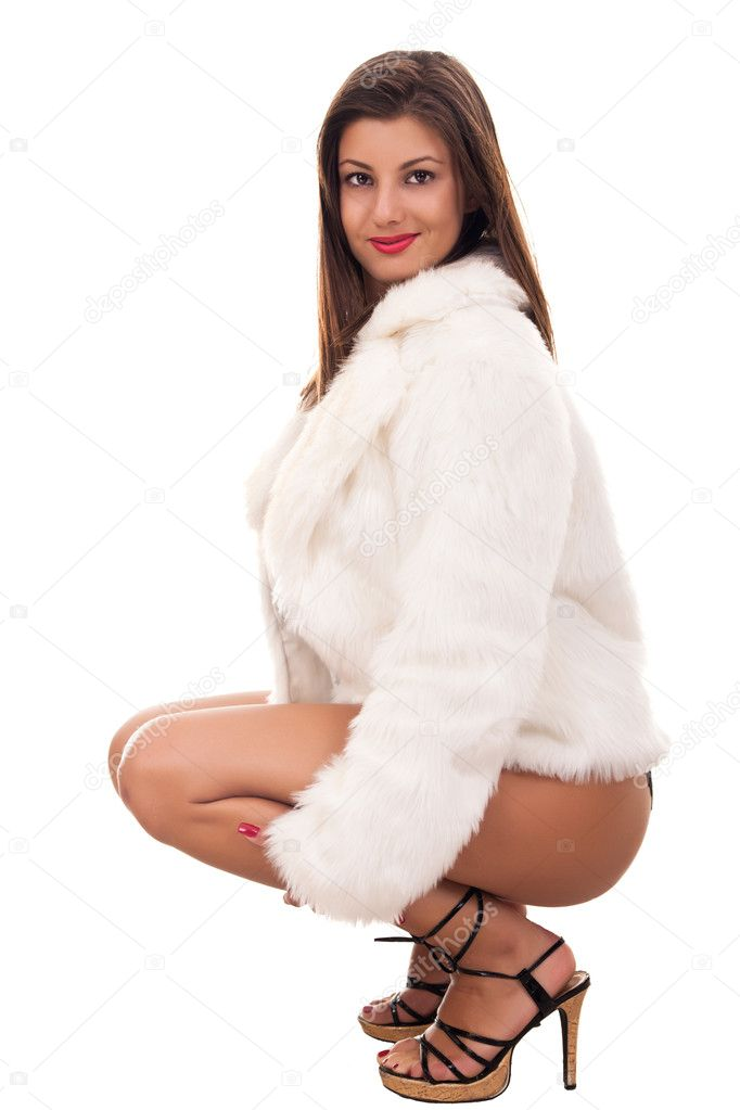 Women in fur coat Naked
