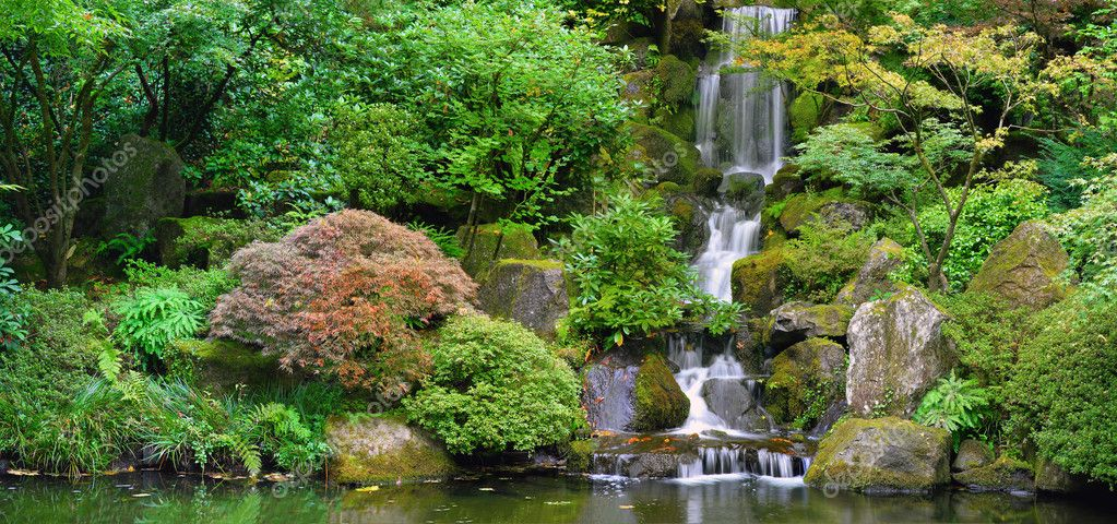 Waterfall At Japanese Garden Panorama Stock Photo Davidgn 3983713